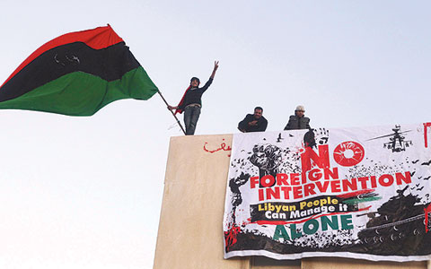 Anti Gadaffi Libyans demonstrate against foreign intervention in Benghazi